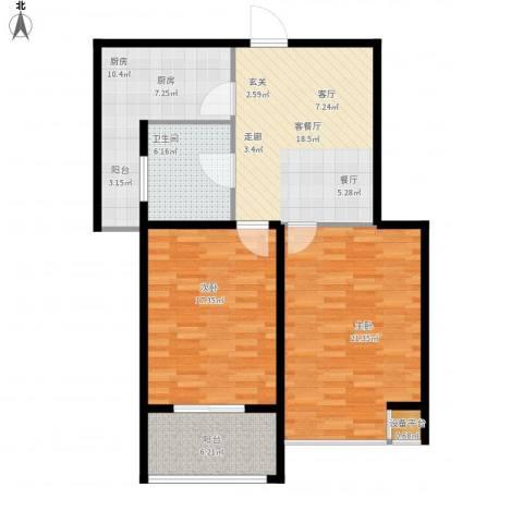 嘉城尚座2室1厅1卫1厨112.00㎡户型图