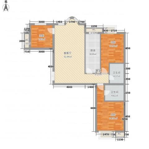 上京新航线3室1厅2卫1厨117.00㎡户型图