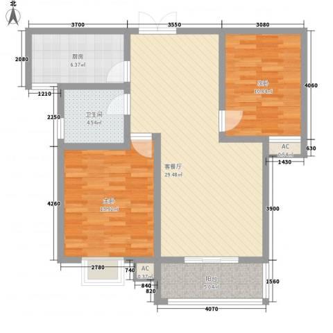 中登・悦园2室1厅1卫1厨94.00㎡户型图