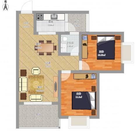 龙腾盛世2室1厅1卫1厨88.00㎡户型图