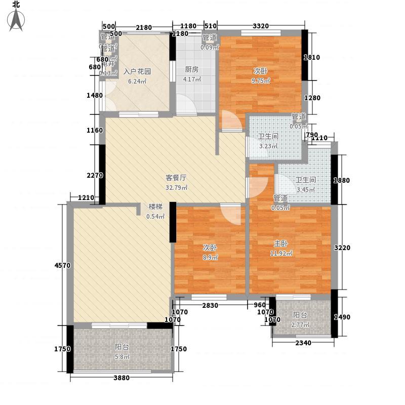 奥林匹克花园127.50㎡小高层户型3室2厅2卫1厨