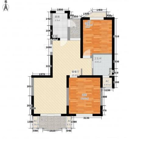 欧洲豪庭2室1厅1卫1厨96.00㎡户型图