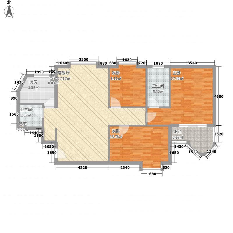 时代伟业2008130.52㎡罗马大厦04户型3室2厅2卫1厨