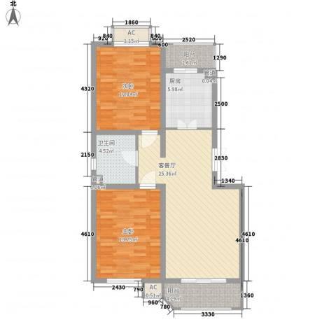 三湘盛世花园2室1厅1卫1厨103.00㎡户型图