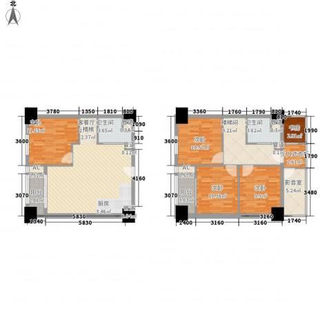 通商华富国际广场5室1厅2卫0厨107.02㎡户型图