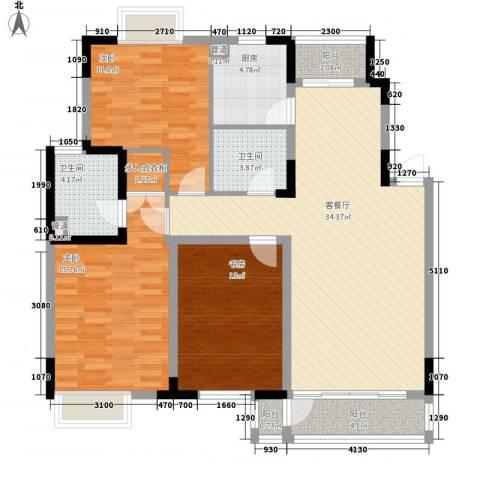融城时代3室1厅2卫1厨137.00㎡户型图