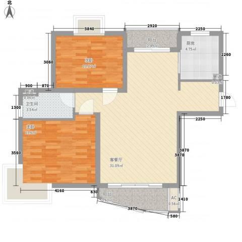 三湘盛世花园2室1厅1卫1厨101.00㎡户型图