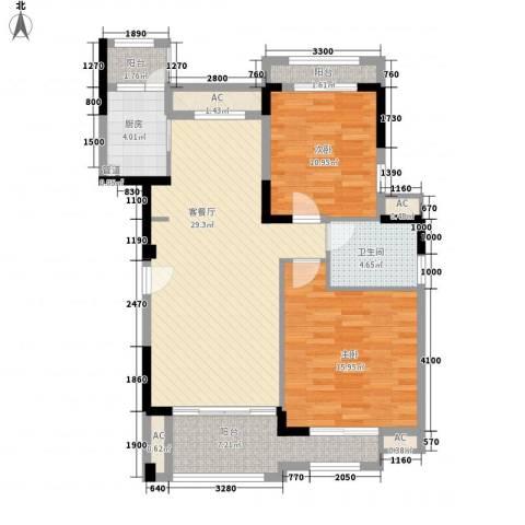 富力红树湾2室1厅1卫1厨90.00㎡户型图
