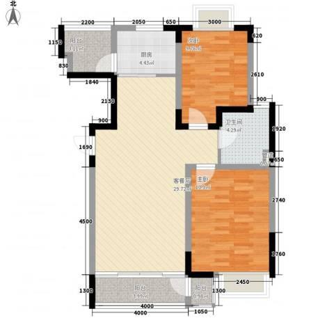融城时代2室1厅1卫1厨98.00㎡户型图