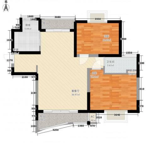 三湘盛世花园2室1厅1卫1厨102.00㎡户型图