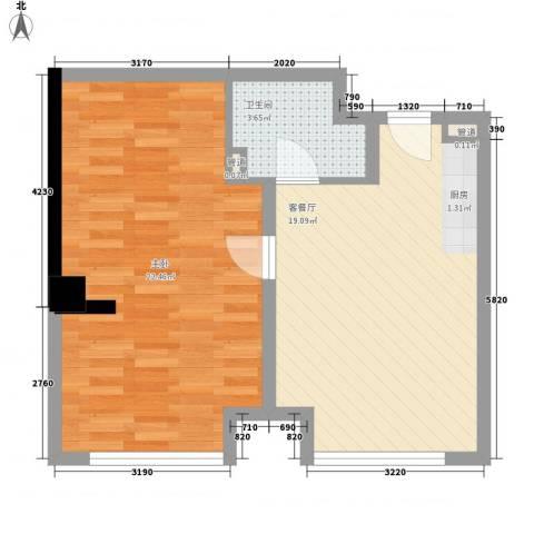 和平大道1室1厅1卫0厨56.00㎡户型图