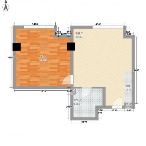 和平大道1室1厅1卫0厨51.00㎡户型图