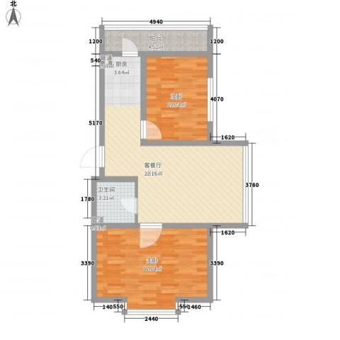 新龙城2室1厅1卫0厨88.00㎡户型图