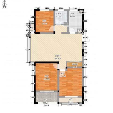 世纪华城二期铂晶湾3室1厅1卫1厨123.00㎡户型图