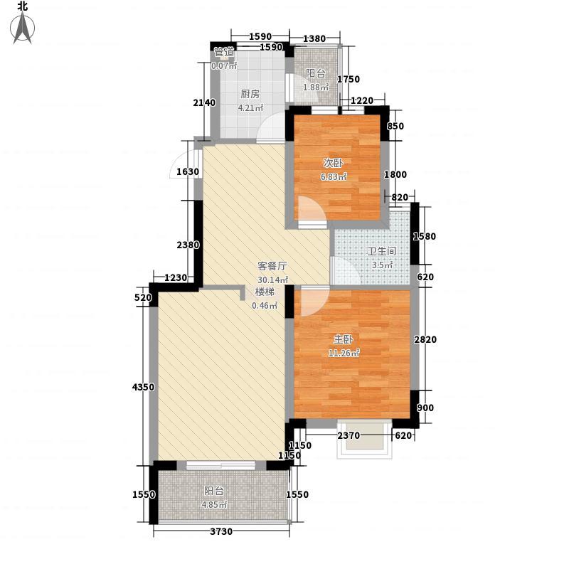 奥林匹克花园86.04㎡2.3期A3户型2室2厅1卫1厨