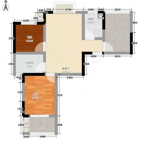 枫林雅都2室1厅1卫1厨81.00㎡户型图
