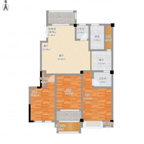 金山俪园3室1厅2卫1厨131.00㎡户型图