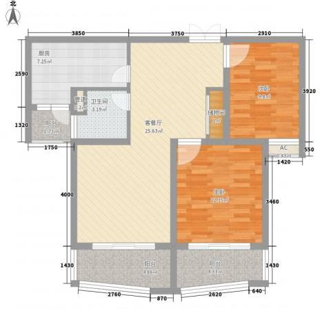 爱法山水国际2室1厅1卫1厨105.00㎡户型图