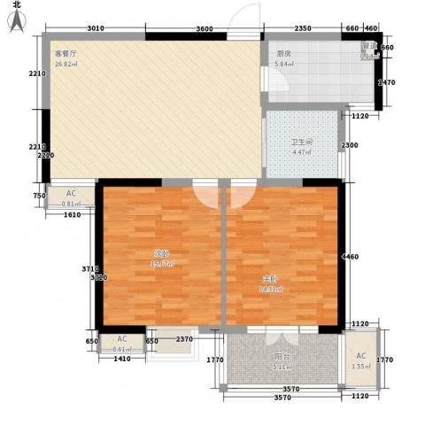 枫林雅都2室1厅1卫1厨95.00㎡户型图