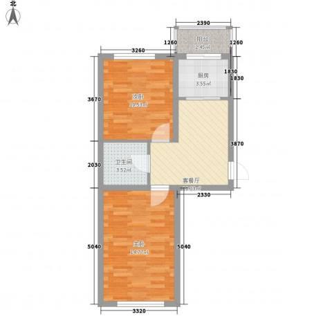 台北华郡2室1厅1卫1厨58.00㎡户型图
