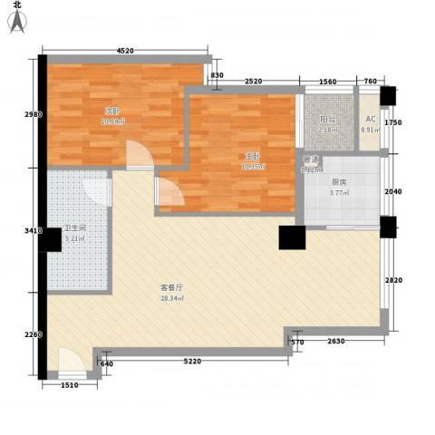 恒佳格调2室1厅1卫1厨88.00㎡户型图