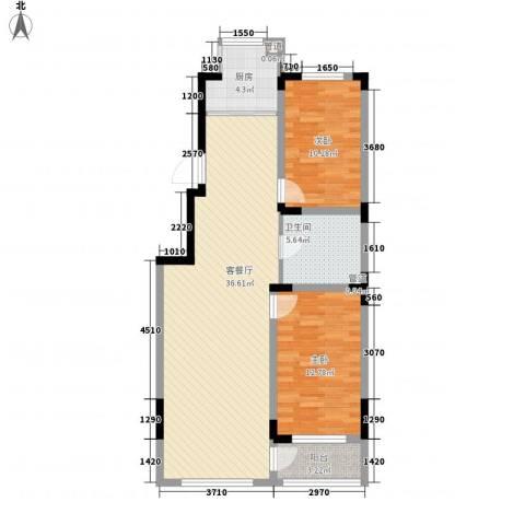 天富北苑2室1厅1卫1厨83.00㎡户型图