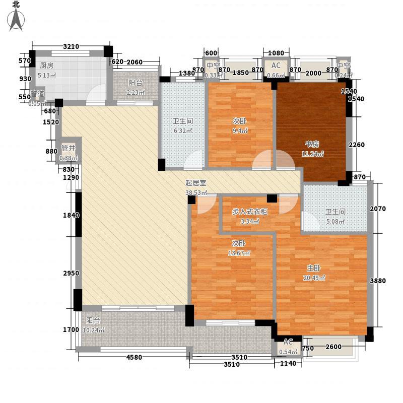 兴进上郡143.00㎡一期户型4室2厅2卫1厨