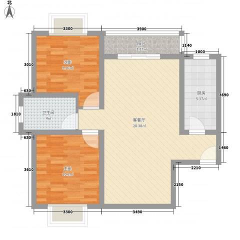 翠屏湾2期兰卡威小镇2室1厅1卫1厨82.00㎡户型图
