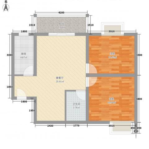 翠屏湾2期兰卡威小镇2室1厅1卫1厨88.00㎡户型图