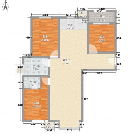 通安小区二期3室1厅2卫0厨144.00㎡户型图
