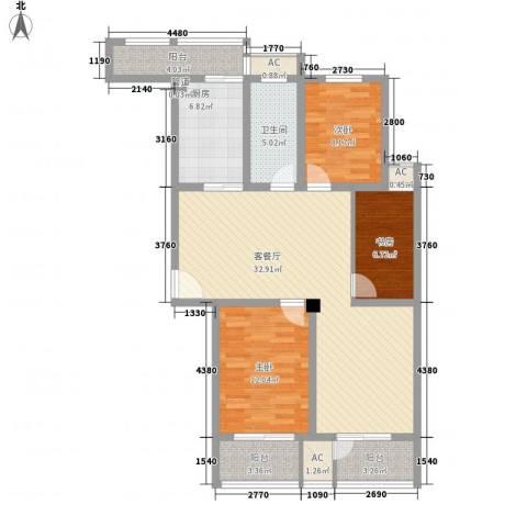 恒天新世界3室1厅1卫1厨126.00㎡户型图