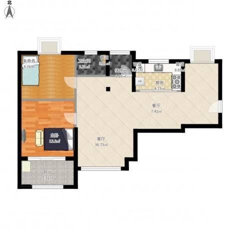 绿地香颂公寓1室1厅1卫1厨104.00㎡户型图
