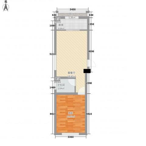 城市摩方1室1厅1卫1厨64.00㎡户型图