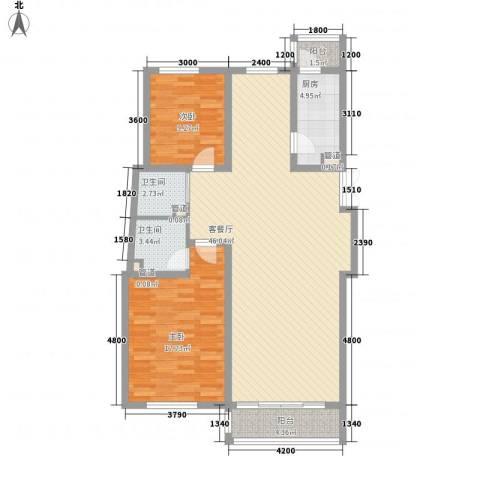 融城时代2室1厅2卫1厨121.00㎡户型图