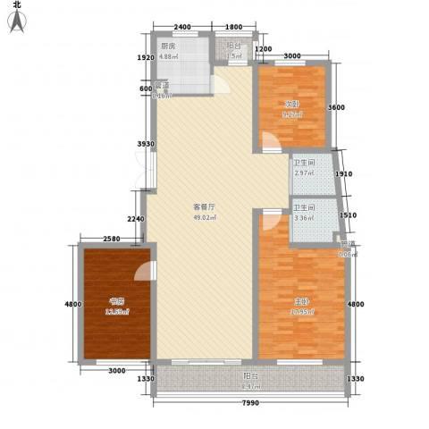融城时代3室1厅2卫1厨143.00㎡户型图