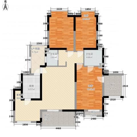 天地源曲江华府3室1厅2卫1厨161.00㎡户型图