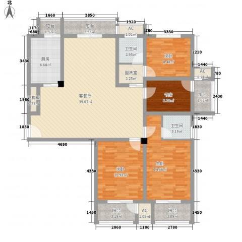 恒天新世界4室1厅2卫1厨169.00㎡户型图
