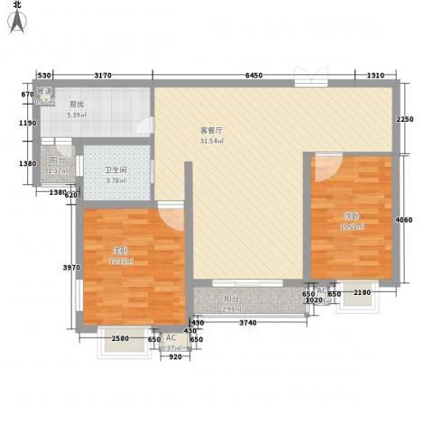 锦绣江南2室1厅1卫1厨98.00㎡户型图