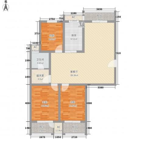 恒天新世界3室1厅1卫1厨140.00㎡户型图