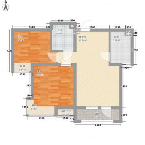 春铁家园2室1厅1卫1厨76.00㎡户型图