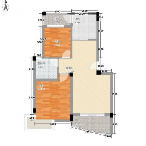 水岸怡园2室1厅1卫1厨74.00㎡户型图