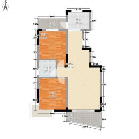 水岸怡园2室1厅1卫1厨91.00㎡户型图