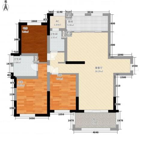 宝华铂翠豪庭3室1厅2卫1厨110.00㎡户型图