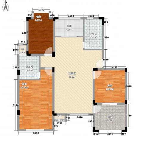 山水华庭东苑3室0厅2卫1厨130.00㎡户型图