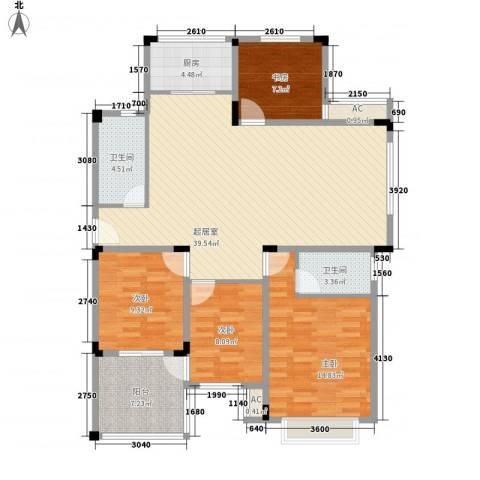 山水华庭东苑4室0厅2卫1厨140.00㎡户型图