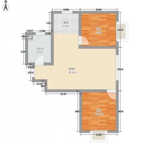 融域1342室1厅1卫0厨54.68㎡户型图