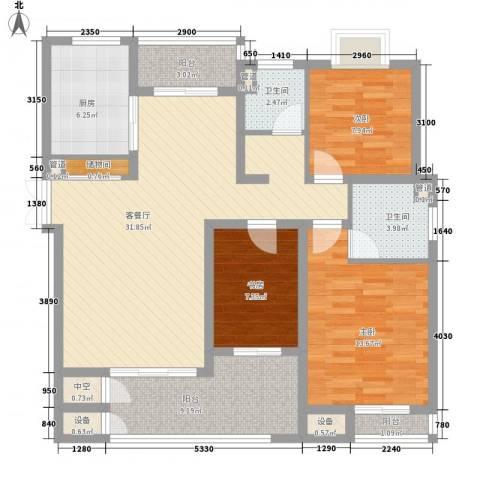 绿润名都3室1厅2卫1厨132.00㎡户型图