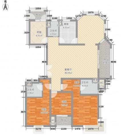 城置御水华庭3室1厅3卫1厨175.00㎡户型图