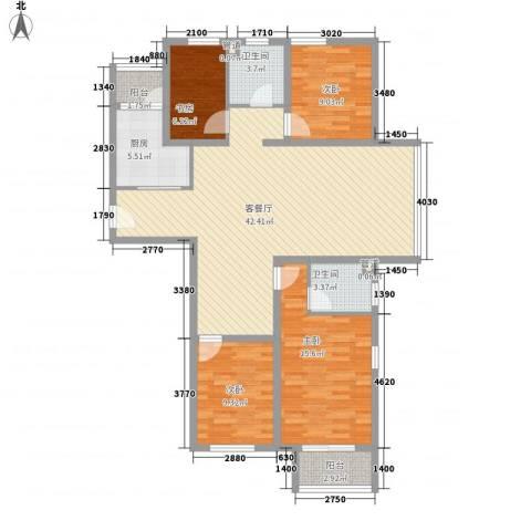 京城豪苑4室1厅2卫1厨146.00㎡户型图