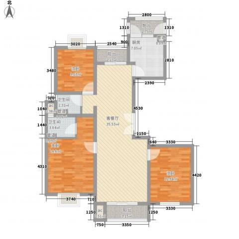 城置御水华庭3室1厅2卫1厨140.00㎡户型图